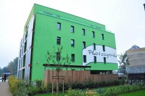 Das IBA-Haus BIQ mit Bioreaktorfassade.