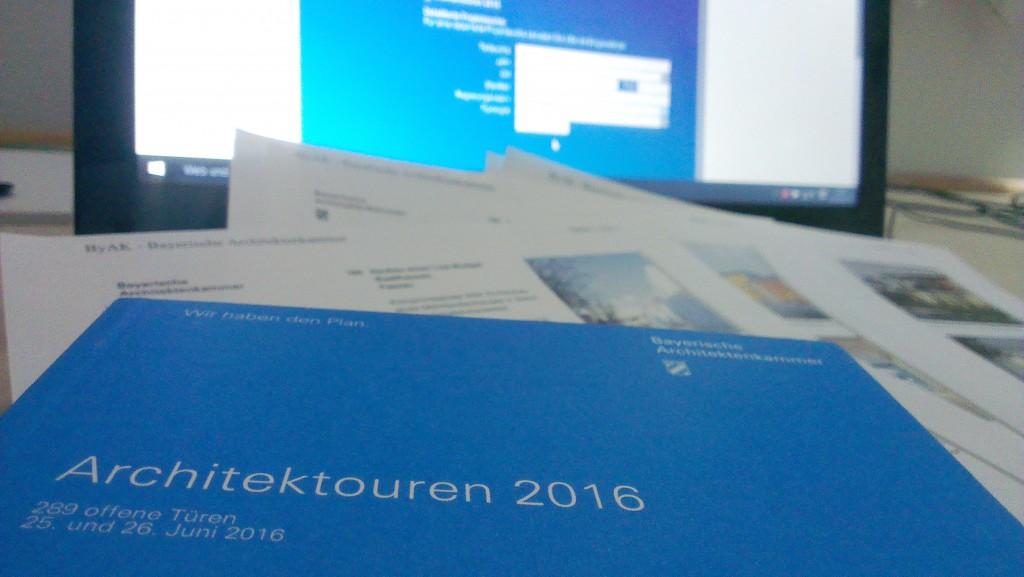 Architektouren 2016 Booklet und Datenbank