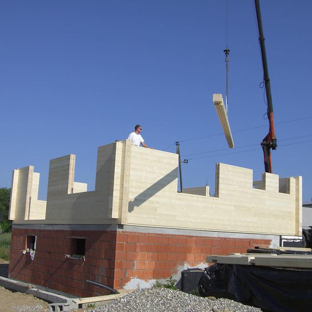 Bau des Holzhauses