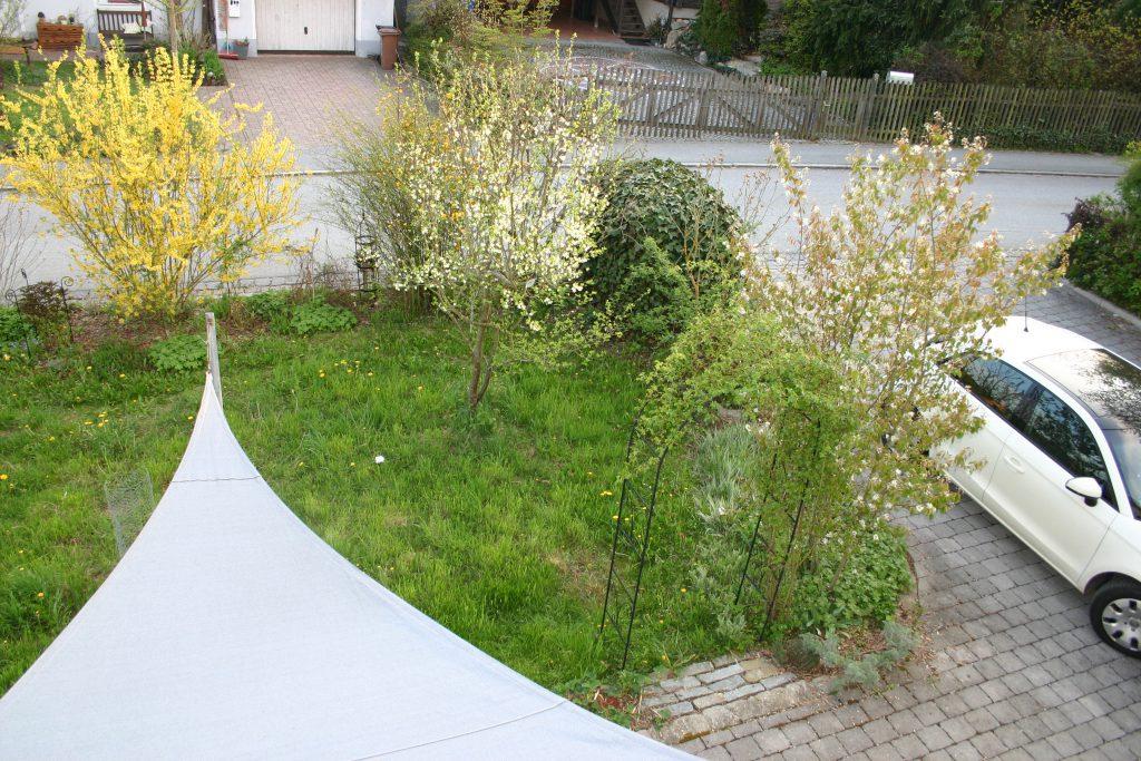 Garten zwischen Straße und Haus